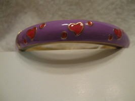 BRACELET, fits avg wrist, purple with red hearts - $9.00