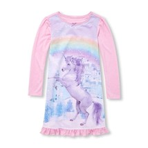 NWT The Childrens Place Girls Pink Glitter Unicorn Long Sleeve Nightgown Pajamas - $12.99