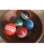 5 Vtg Croquet Balls Wooden 3 Stripe Ribbed Primitive Country Decor Bowl ... - $33.65