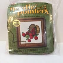"""Apple Basket Needlepoint Kit Needle Pointers 5"""" x 5"""" Opened - $9.74"""