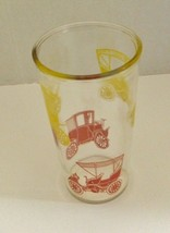 Vintage Swanky Swig Drinking Glass w/ Red and Yellow Antique Cars Anchor... - $9.78
