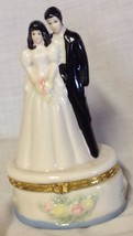 BRIDE & GROOM PORCELAIN HINGED TRINKET BOX - $7.87
