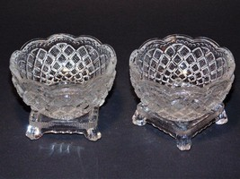 2 Glass Beaded Finger Bowls w/ Square Footed Ba... - $7.84