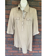 Beige Cotton Express Blouse Small 3/4 Sleeves Button Back Pockets Soft T... - $9.80