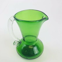 "GREEN GLASS PITCHER WITH CLEAR APPLIED HANDLE - 4 1/2"" - $8.91"