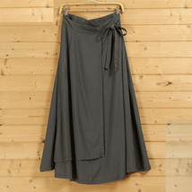 Women High Waist Wrap Skirts Ankle Length Linen Cotton Skirt,Khaki Wine-red Gray image 4