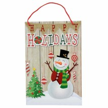 """Christmas House Happy Holidays Snowman Wall Decor Hanging Sign 9""""X13""""w - $5.99"""