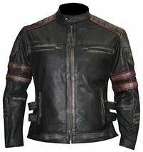 Distressed Black Retro Cafe Racer Slimfit Vintage Biker Leather Jacket image 1