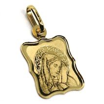 SOLID 18K YELLOW RECTANGULAR GOLD MEDAL 16mm VIRGIN MARY OUR LADY OF SORROWS image 2
