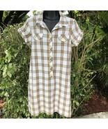 Lei Juniors Plaid Collared Button Down Shirt Dress Short Sleeve Size XL ... - $14.60