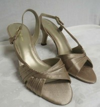Liz Claiborne Strappy Heels 7.5 W Champagne Colored Womens Shoes - $13.60