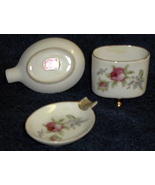 Lefton China ashtrays & cigarette holder with roses  - $20.00