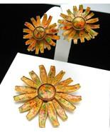 Vintage Sunflower Enamel Brooch & Earrings Set - $59.99