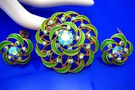 Vintage Blue, Green Enamel & Rhinestone Brooch & Earring Set - $62.50