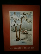 Sleigh Ride Horses Trees Winter Scene Vintage Christmas Card - $4.00