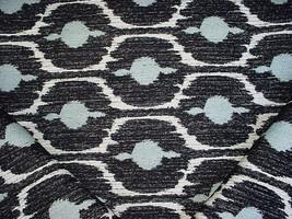 12-1/2Y KRAVET LEE JOFA BLUE BLACK WHITE IKAT CHENILLE DRAPERY UPHOLSTER... - $297.00