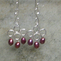 Burgundy Pearls & Argentium Sterling Silver Wire Work Earrings - $20.99
