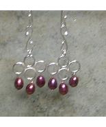 Burgundy Pearls & Argentium Sterling Silver Wire Work Earrings - $20.99