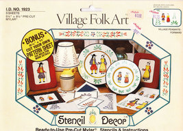 VILLAGE FOLK ART STENCIL #1923 PEASANTS PRE-CUT REUSABLE - $2.50