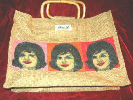 Nice Diane B. Straw Hand Bag w/ Jackie Onassis JFK