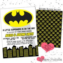 Batman Yellow Boy or Girl Baby Shower Invitation PRINTABLE FREE thank you - £9.07 GBP