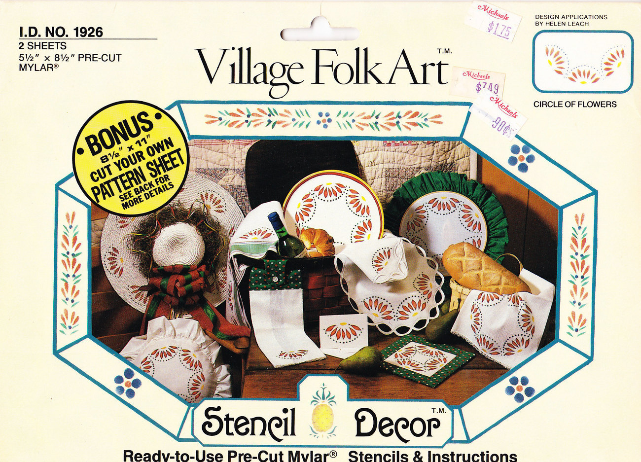 VILLAGE FOLK ART STENCIL #1926 CIRCLE OF FLOWERS PRE-CUT - $2.50