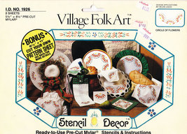 VILLAGE FOLK ART STENCIL #1926 CIRCLE OF FLOWERS PRE-CUT - $2.50