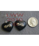 Black Heart Bitten Smitten Vampie Earrings NEW - $3.99