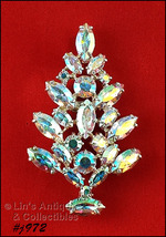 Eisenberg Ice Aurora Borealis Prong Set Rhinestones Christmas Tree Pin (#J972) - $110.00