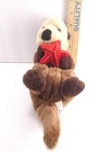"Sea World Plush Otter Stuffed Zoo Animal With Red Seashell Dark Brown 10"" - $8.90"