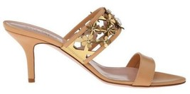Women's Shoes Kate Spade Sabrina Sandals Wide Straps Flower Accents Natural Gold - $179.10
