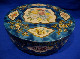 Vintage HUNTLEY PALMERS Biscuits Cookie Tin Souvenir BLUE Flowers Collector - $17.95