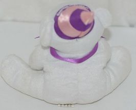 Solid White Plush Bear With Purple Bow Purple Pink Happy Birthday Hat image 3