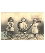 A Pipe for Papa vintage French comic postcard children Victorian - $12.00