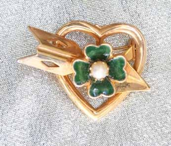 Primary image for 4mm Cultured Pearl Enamel 4leaf Clover Heart 50s Brooch