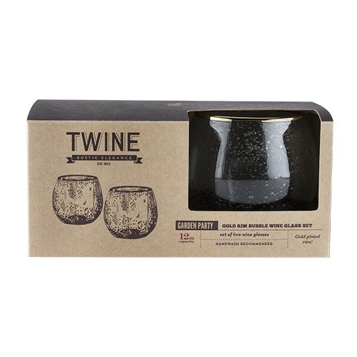 Stemless Wine Glasses, Gold Rim Bubble Clear Insulated Wine Glasses, Set Of 2