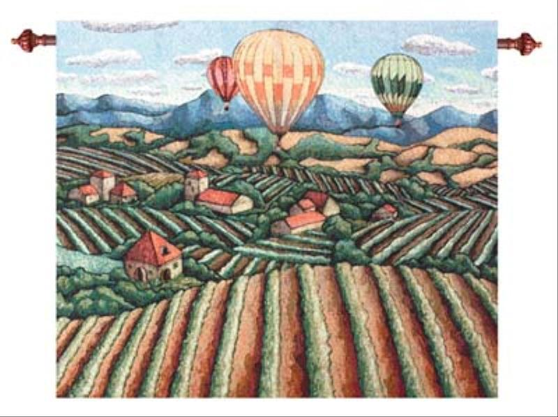 Vineyard View Morning Mist Wall Hanging Tapestry