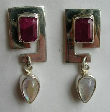VINTAGE Signed SAJEN RUBY Moonstone Earrings STERLING