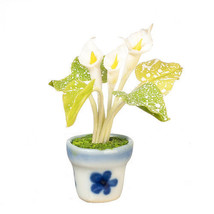DOLLHOUSE MINIATURES WHITE CALLALILY IN POT #G7573 - $9.50