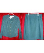 Karin Stevens Green Business Suit Jacket Skirt Dress 14 - $15.00