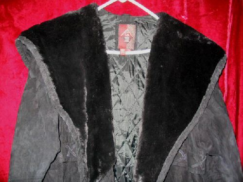 Womens G-III Long Black Leather Suede Jacket Coat L