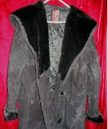 Womens G-III Long Black Leather Suede Jacket Coat L - $45.00