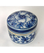 Trinket Box - Blue & White Floral Porcelain - Delft - $5.00