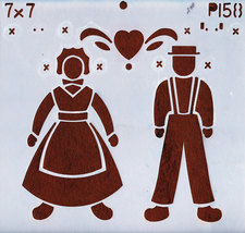 "DECORATIVE PAINTING WITH STENCILS 7""X7"" AMISH MAN & WOMAN WI - $2.00"