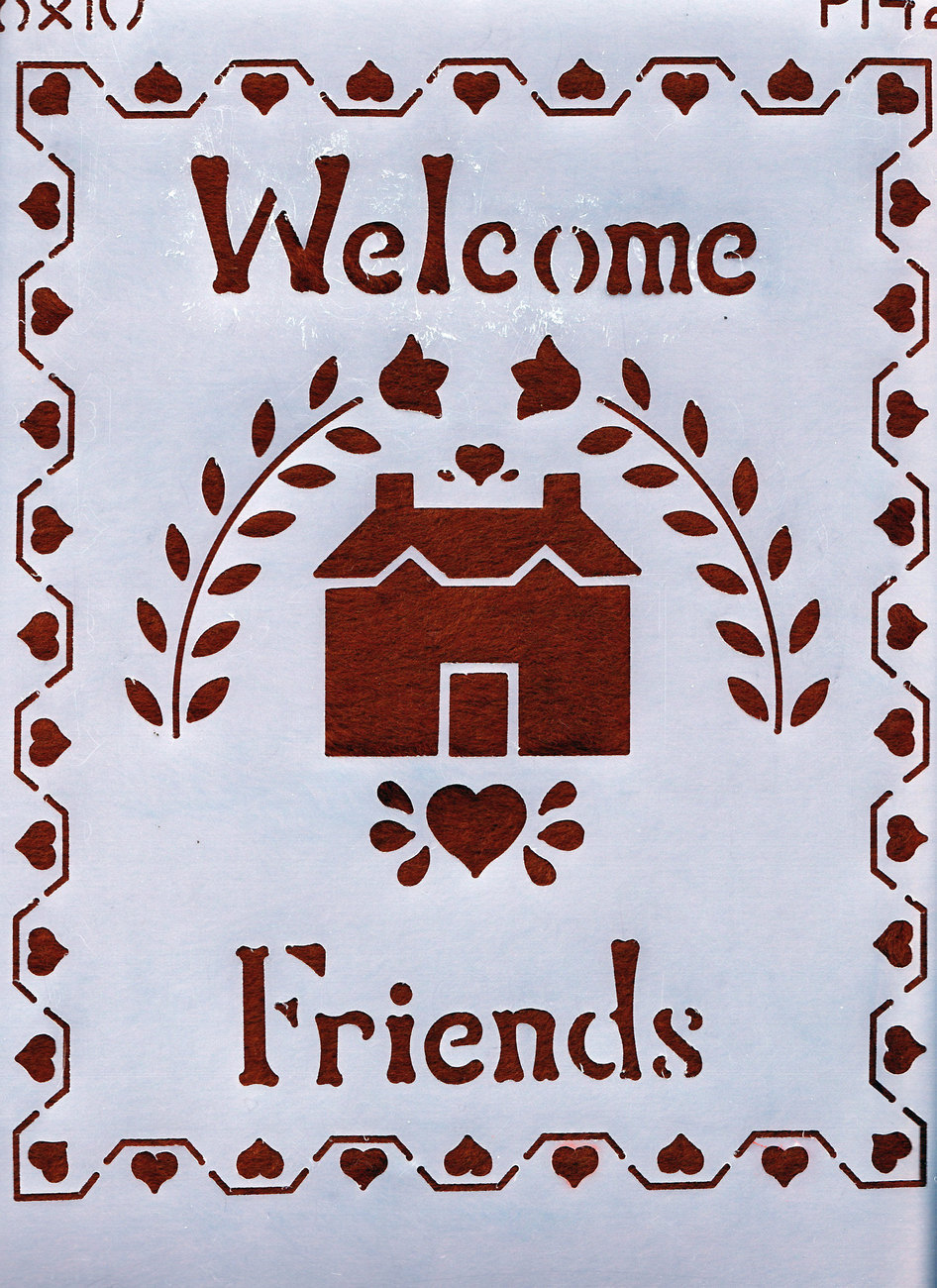 "Primary image for DECORATIVE PAINTING WITH STENCILS 8""X10"" WELCOME FRIENDS"