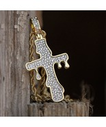 Men's Gold Diamond Dripping Cross Necklace - £22.39 GBP