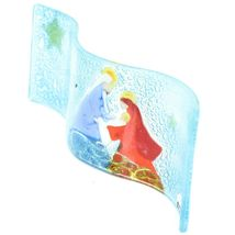 Fused Art Glass Christmas Nativity of Jesus Wavy Sun Catcher Handmade in Ecuador image 4