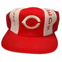 Vintage 80s 90s Cincinnati Reds Mesh Trucker Snapback Hat MLB Lucky Stripe - $39.53