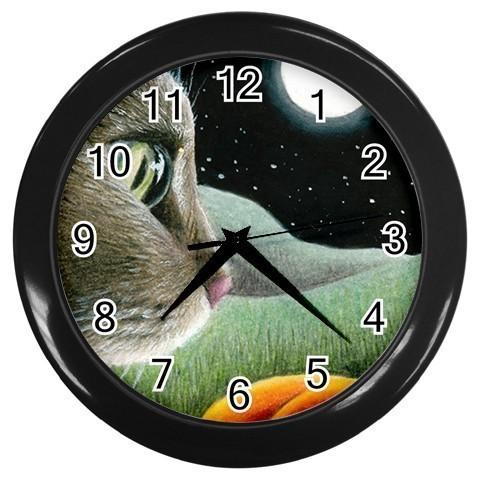 Black Wall Clock from original Art Cat 403 unique
