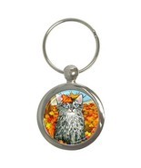 Round Key Chain from art painting Cat 441 fall - $12.99